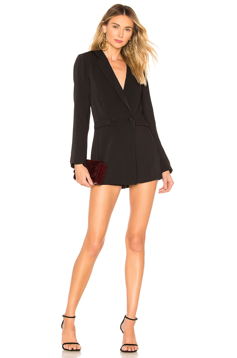 superdown Laila Blazer Romper in Black