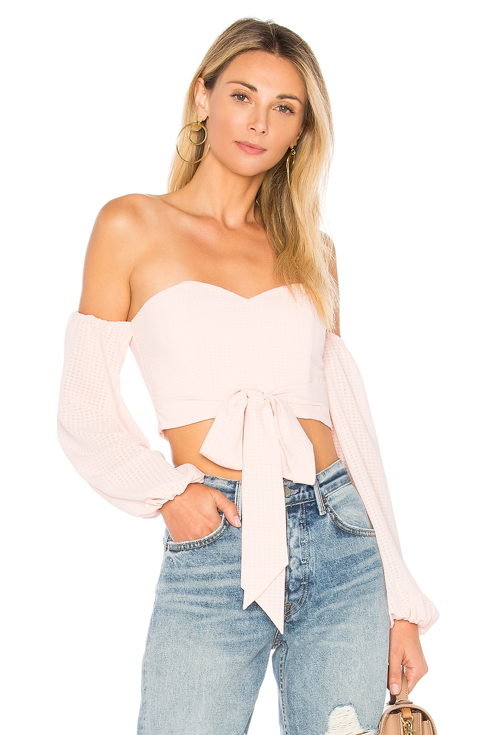 by the way. Maya Off Shoulder Crop Top in Light Pink