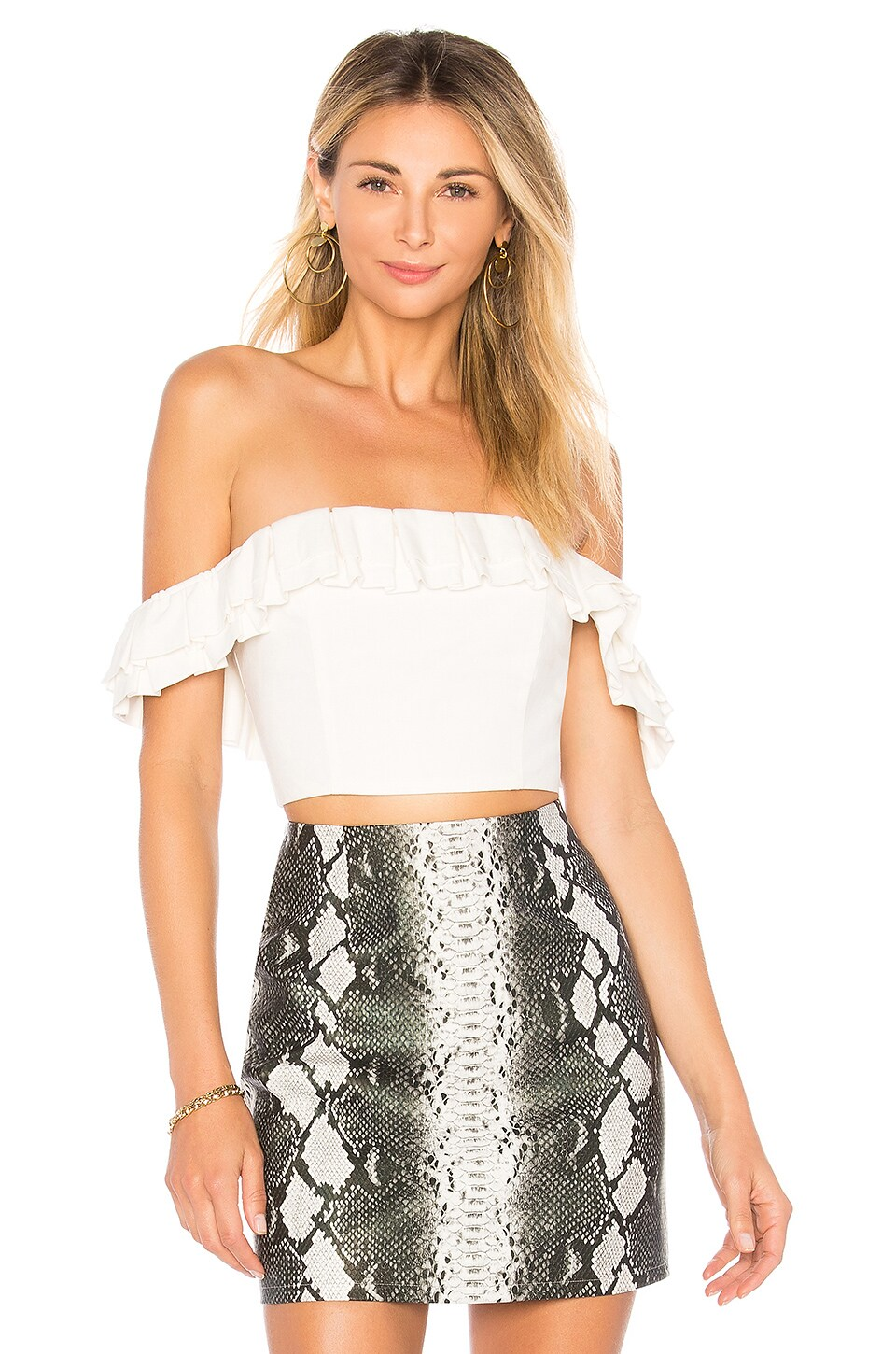 by the way. Lana Ruffle Crop Top in White