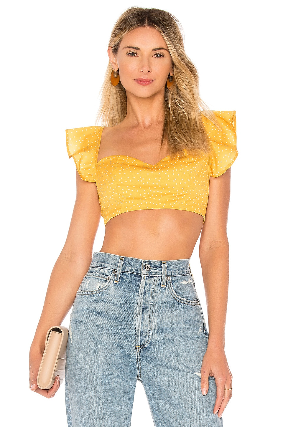 by the way. Brandi Tie Back Crop Top in Yellow Polka Dot