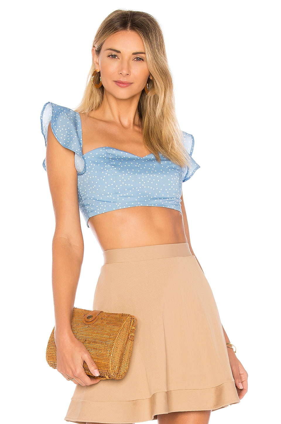 by the way. Brandi Tie Back Crop Top in Blue Polka Dot