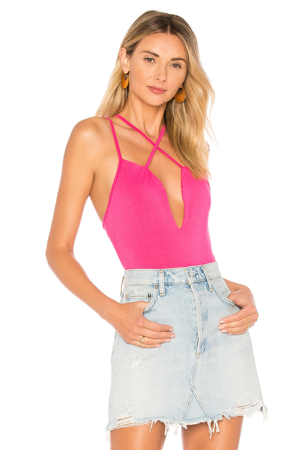 by the way. Abigail Criss Cross Bodysuit in Hot Pink