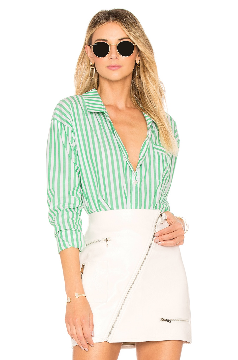 by the way. Kelly Striped Button Up in Green Stripe