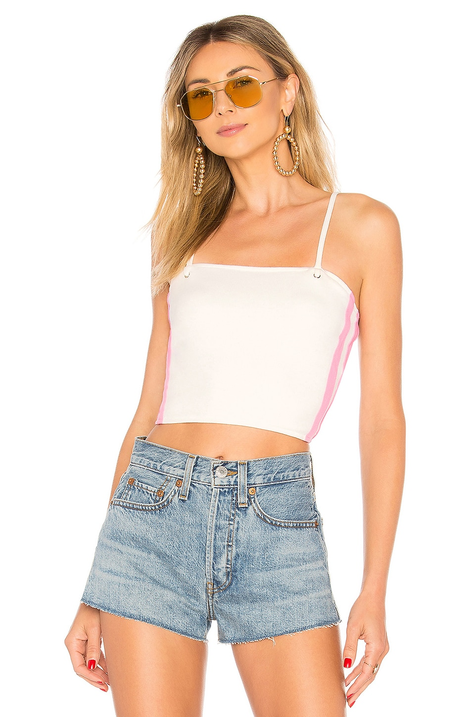 by the way. Jenni Side Stripe Rib Top in White & Pink