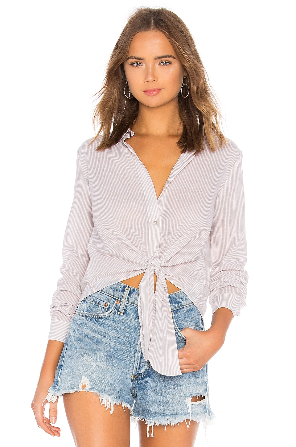 by the way. Carrie Button Up Blouse in Beige & White