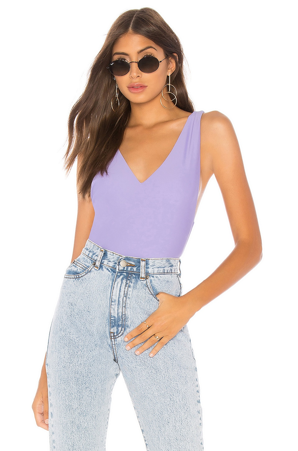 by the way. Bethany Scoop Back Bodysuit in Purple