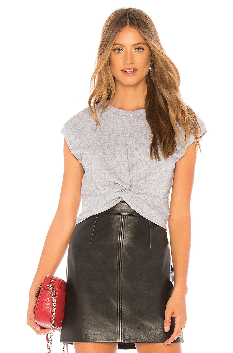 by the way. Hannah Twist Front Short Sleeve Shirt in Heather Grey