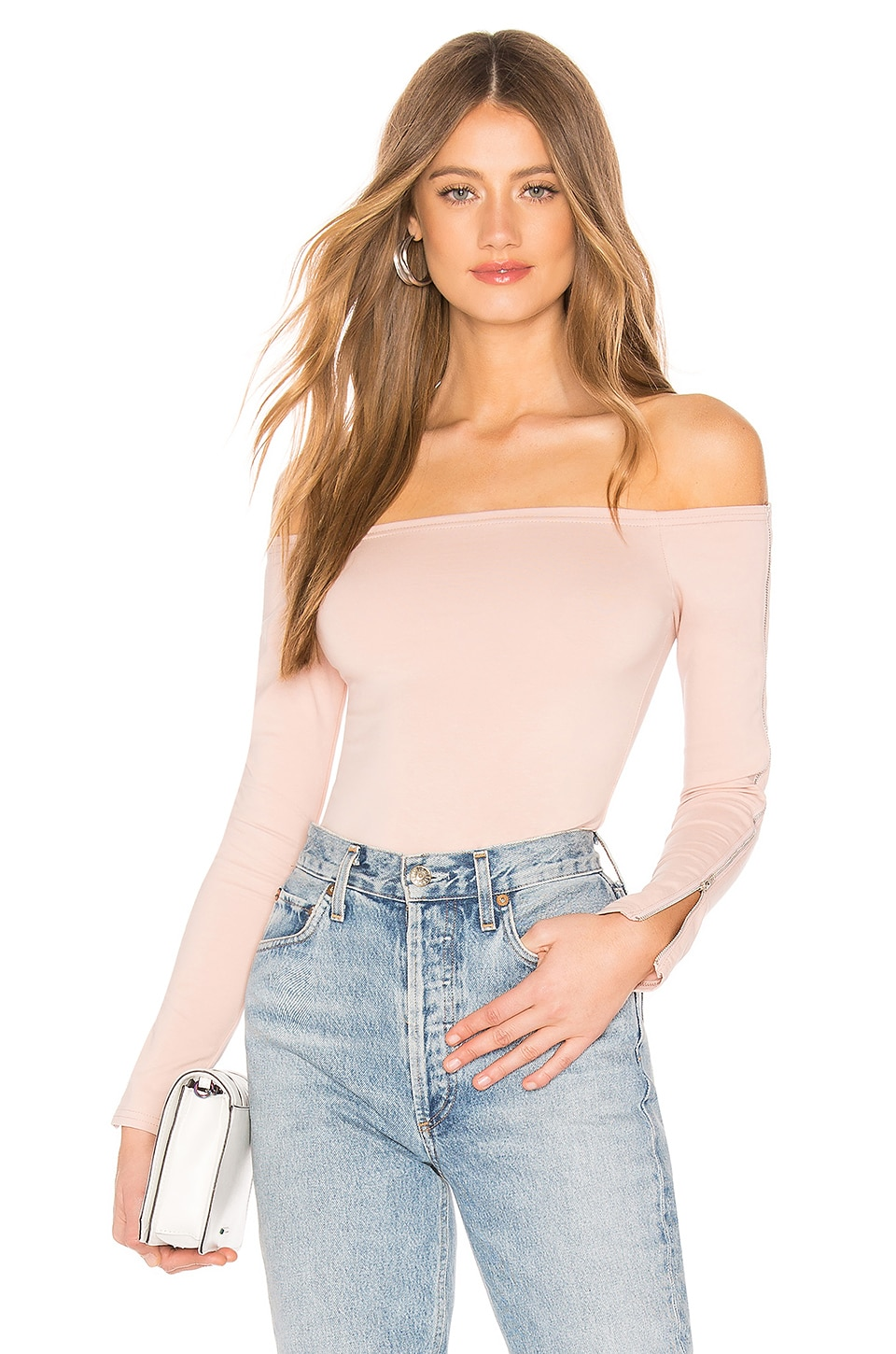by the way. Ivy Zip Sleeve Bodysuit in Dusty Pink