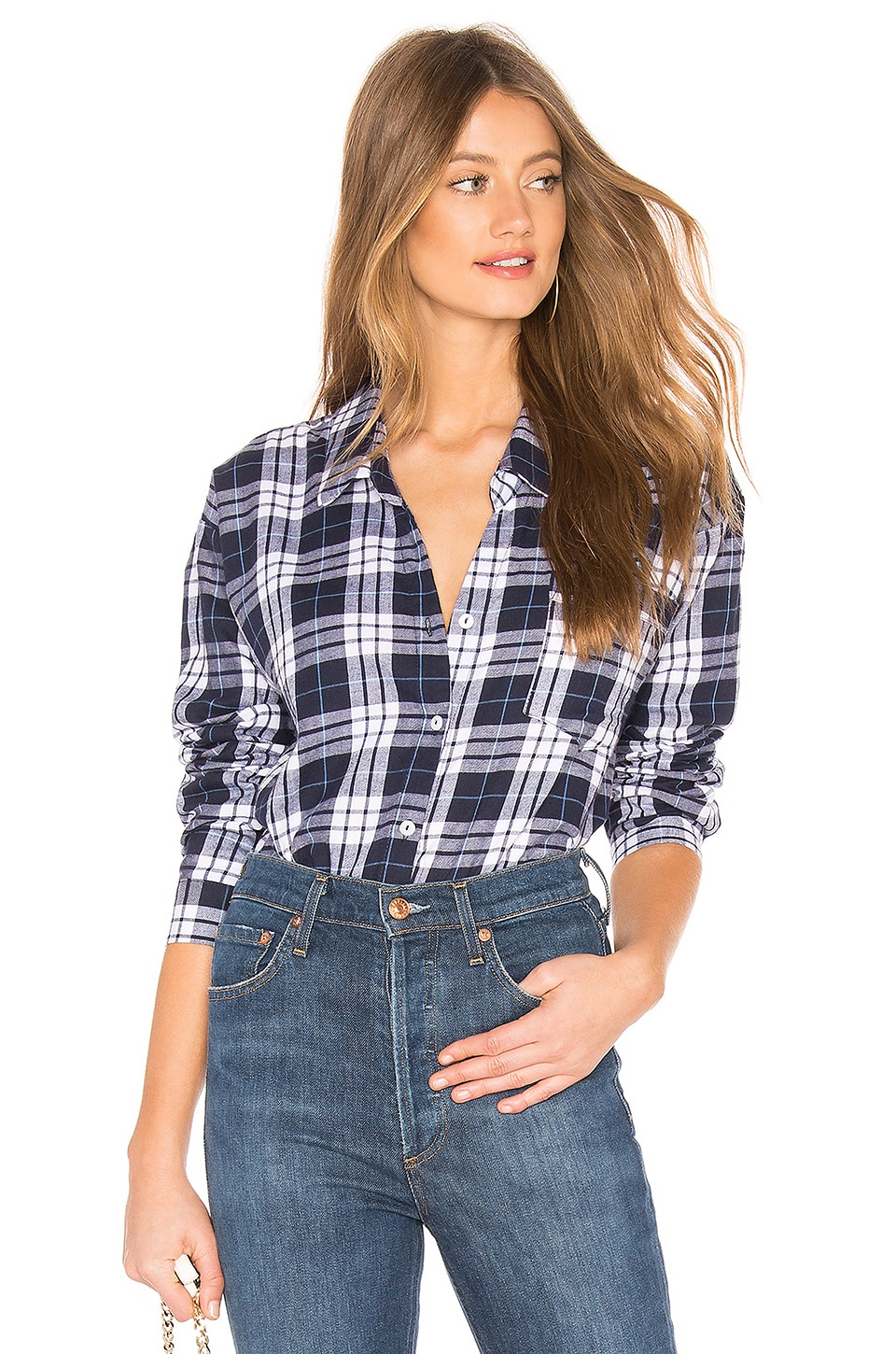 by the way. Damon Button Up Shirt in Navy Plaid