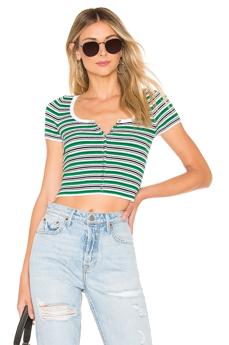 by the way. Tay Striped Top in Green Multi