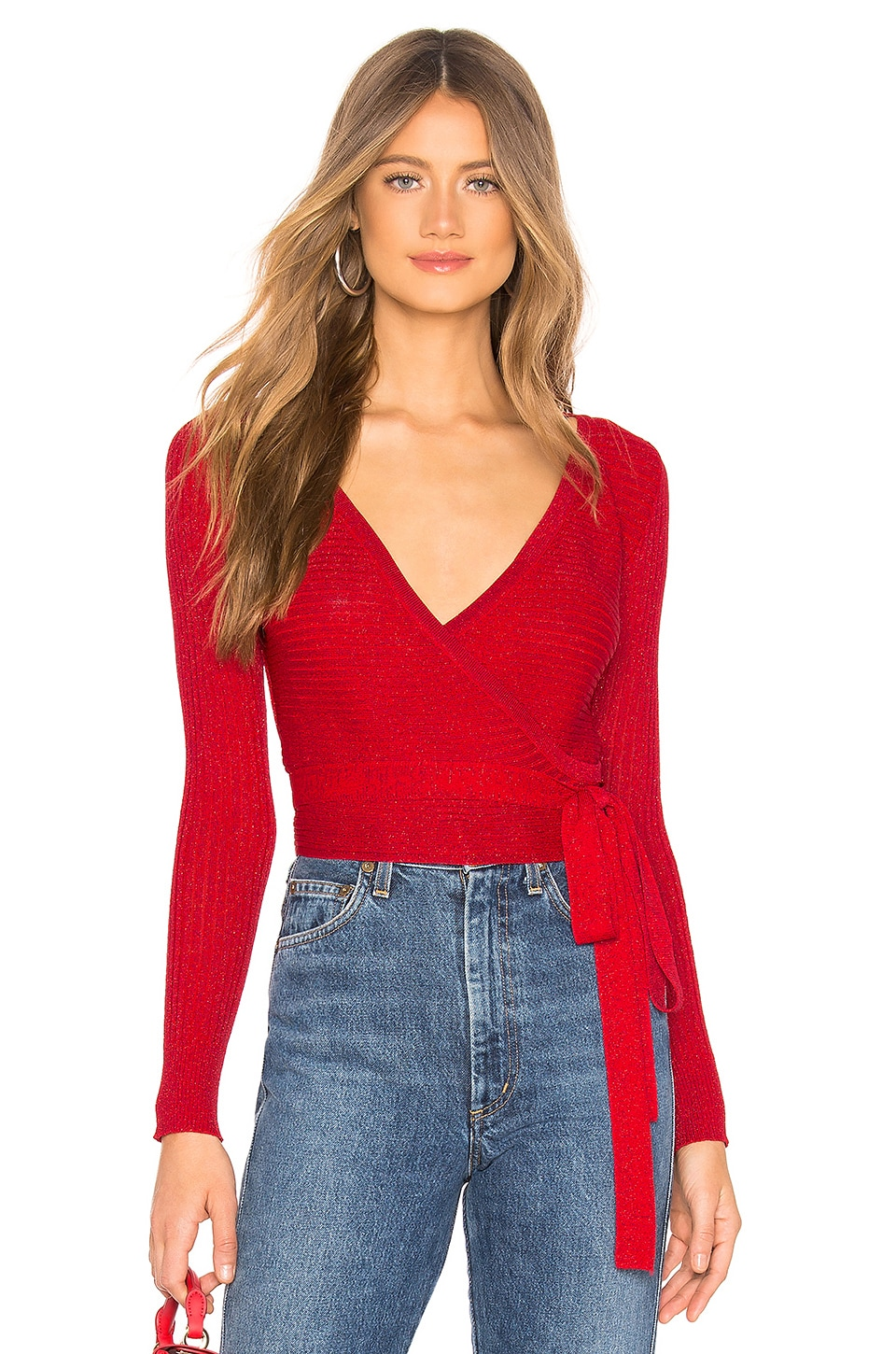 by the way. Mary Lurex Wrap Sweater in Red Metallic