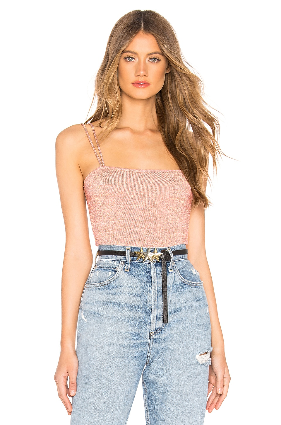 by the way. Vivi Double Strap Top in Rose Gold