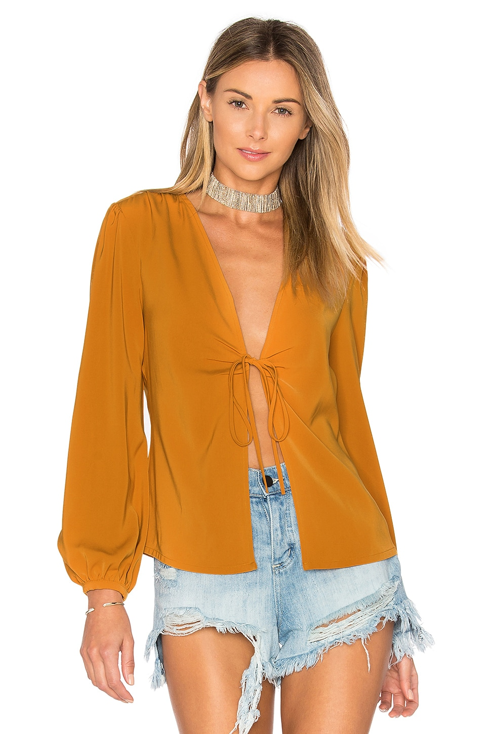 by the way. Meia Deep V Blouse in Mustard