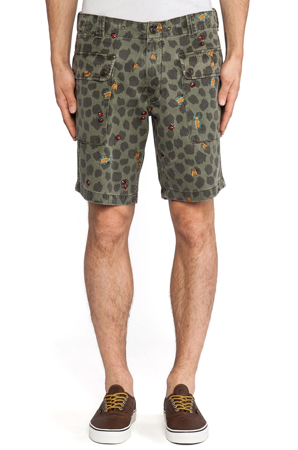 Burkman Bros. Big Pocket Cargo Short in Olive Leopard