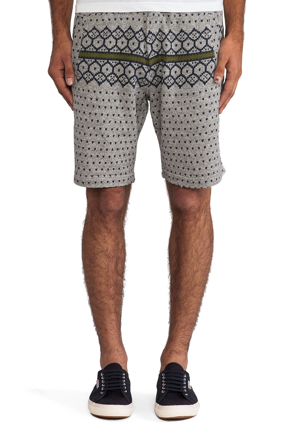 Burkman Bros. Sweater Print Short in Grey Heather