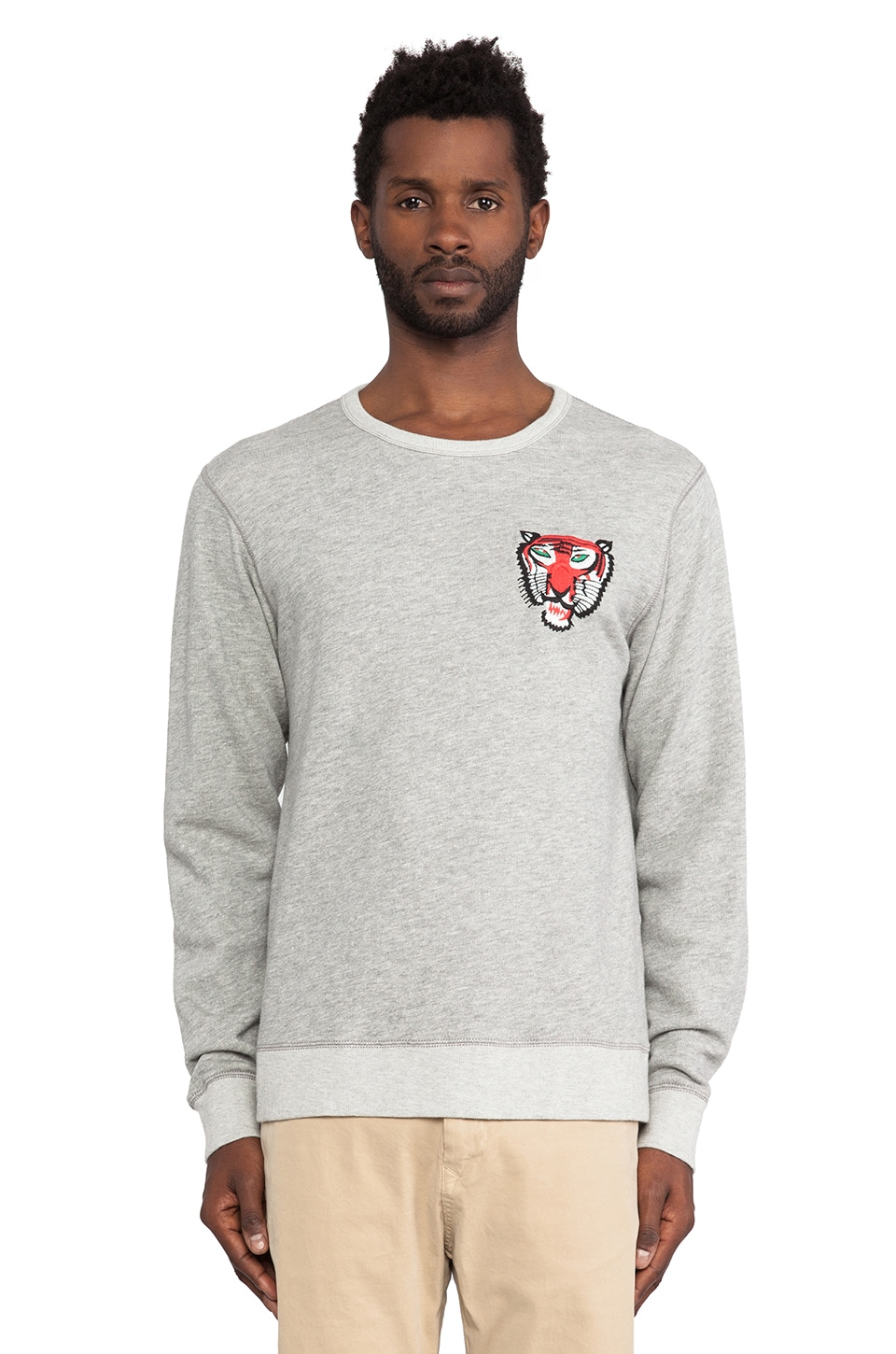 Burkman Bros. Tiger Crewneck Sweatshirt in Heather Grey