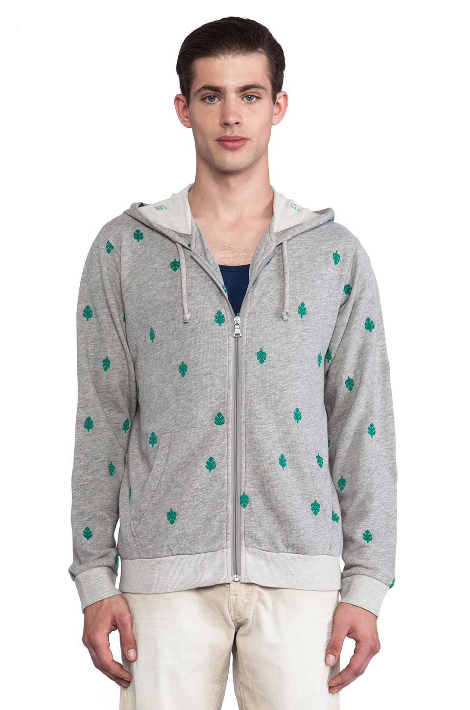 Burkman Bros. Full Zip Hoodie in Grey & Palm