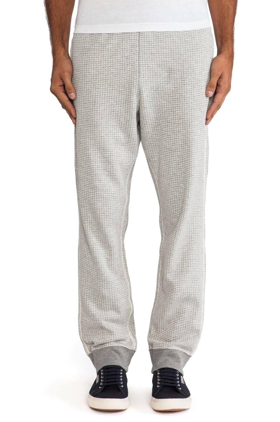 Burkman Bros. Rib Sweatpant Jacquard Knit in Grey/Natural