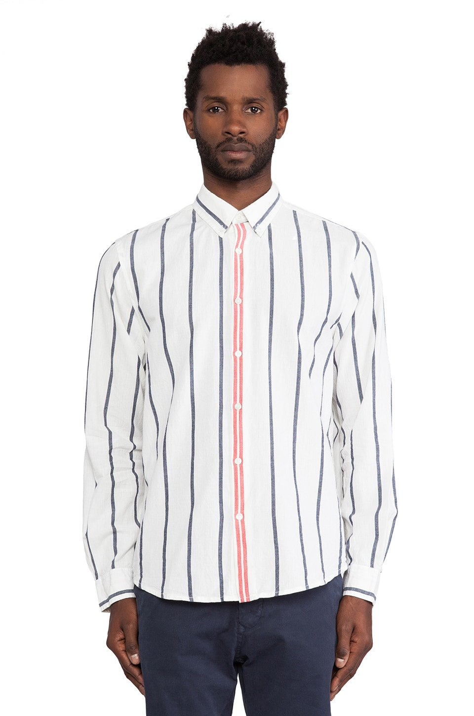 Burkman Bros. Selvedge Shirt in White Stripe