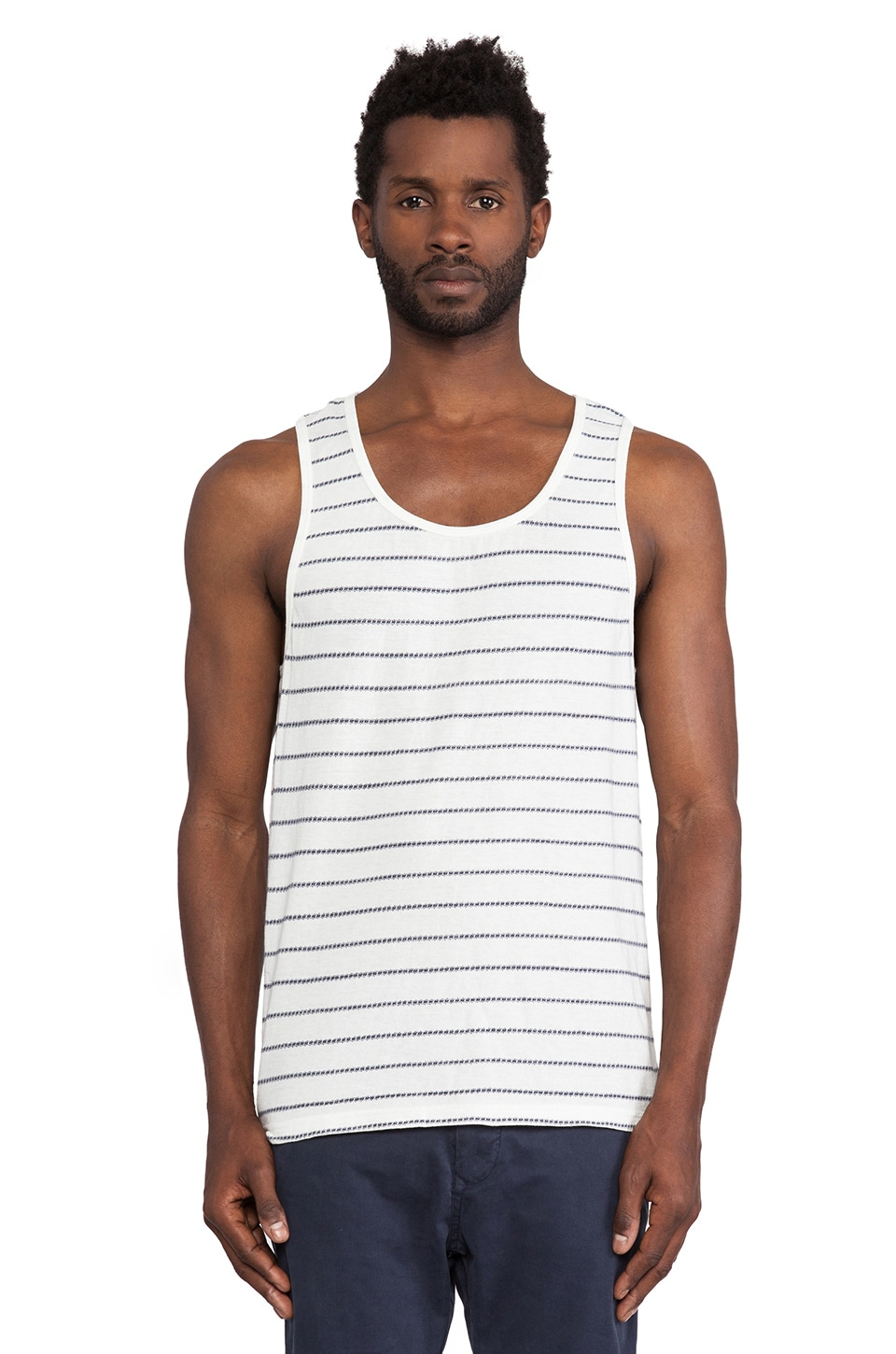 Burkman Bros. Tank Top in White & Navy
