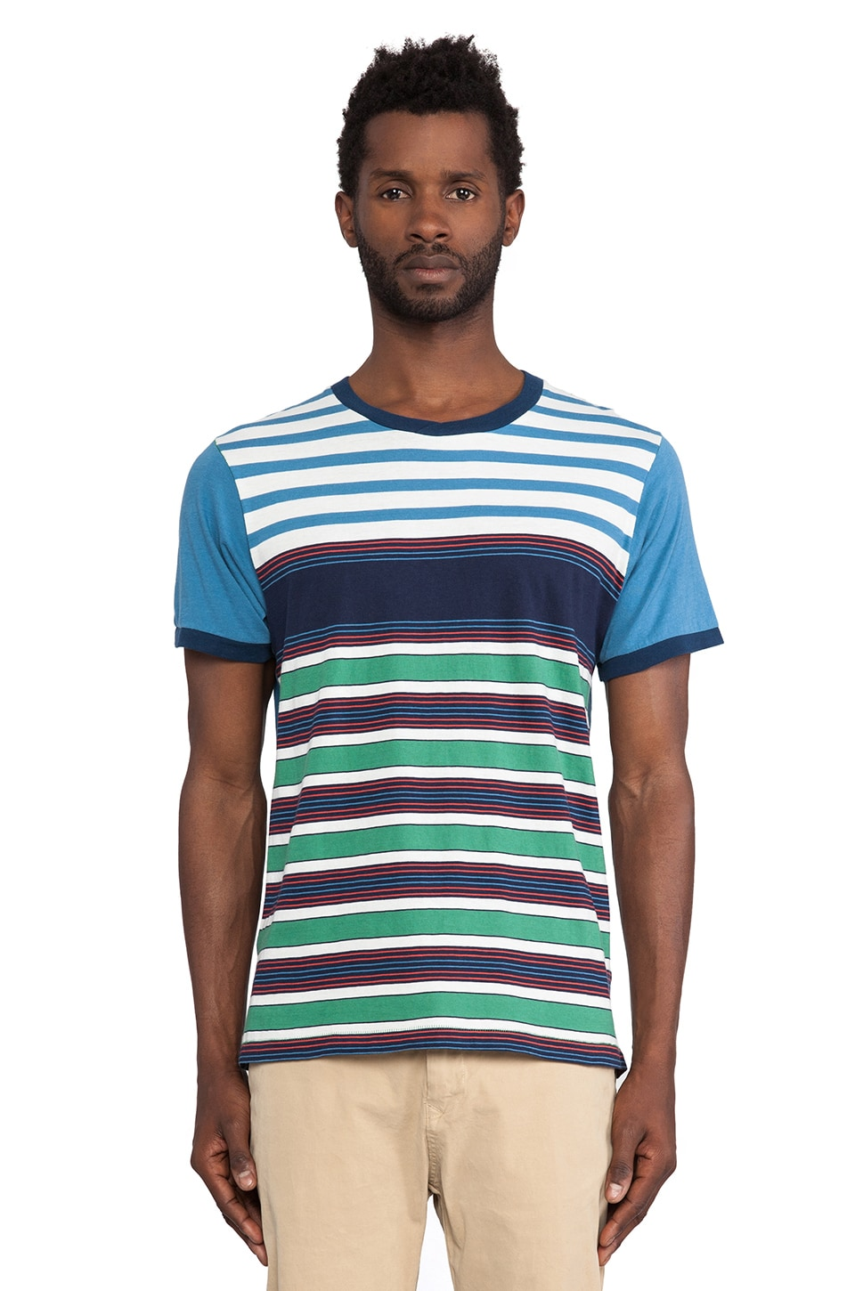 Burkman Bros. Striped Crew Neck Tee in Blue & Green