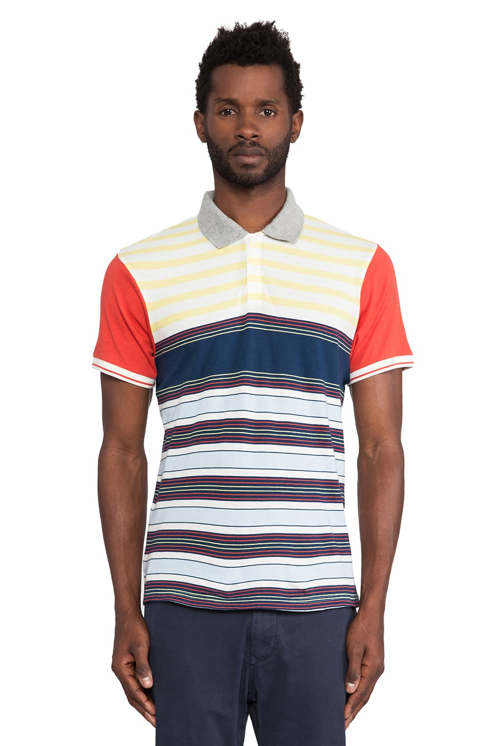 Burkman Bros. Striped Polo in Yellow & Blue