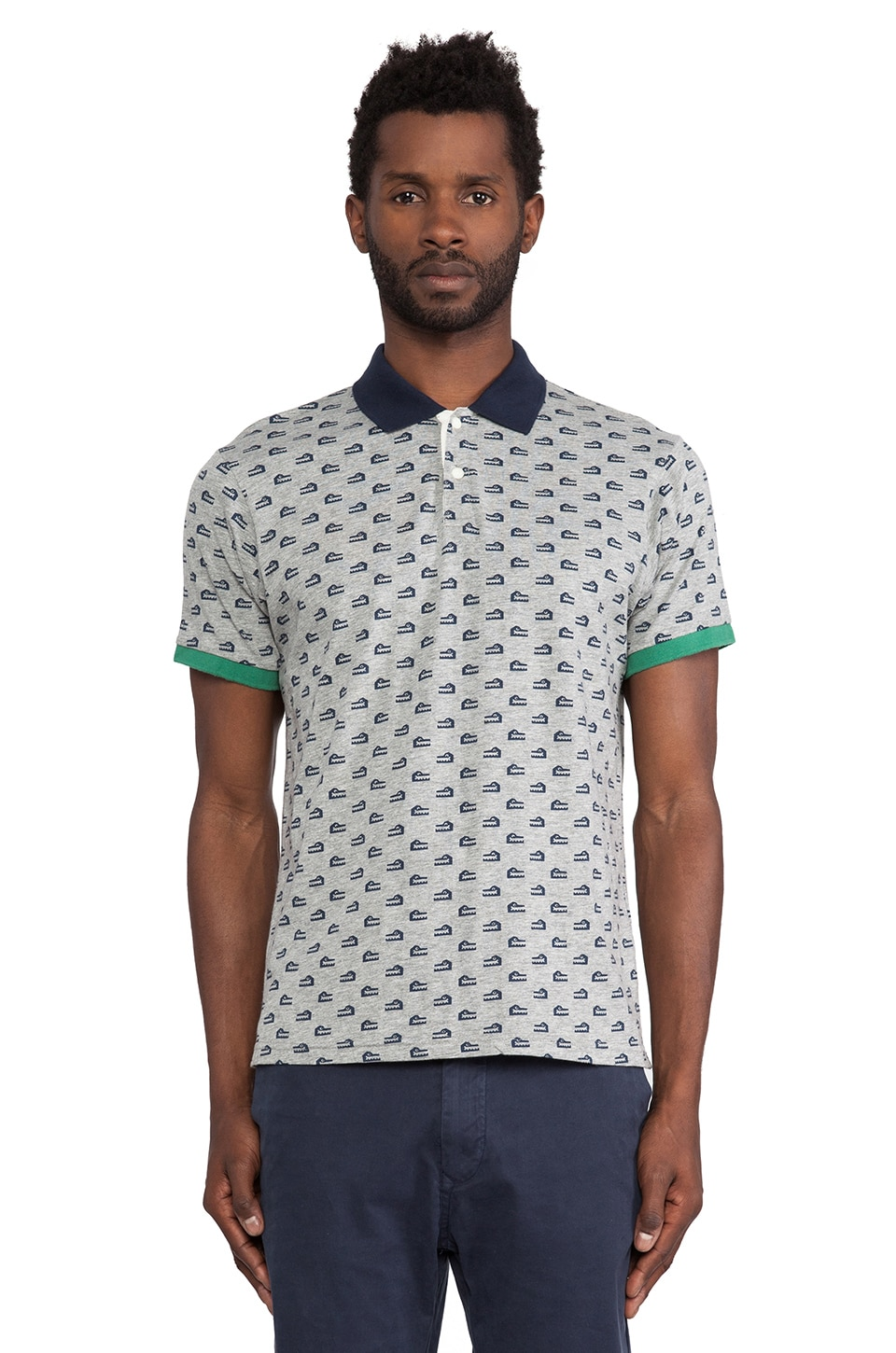 Burkman Bros. Printed Polo in Grey & Croc