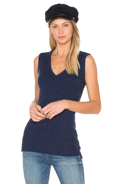 BROWN ALLAN Rib Sleeveless Sweater in Velvet Blueprint Marl