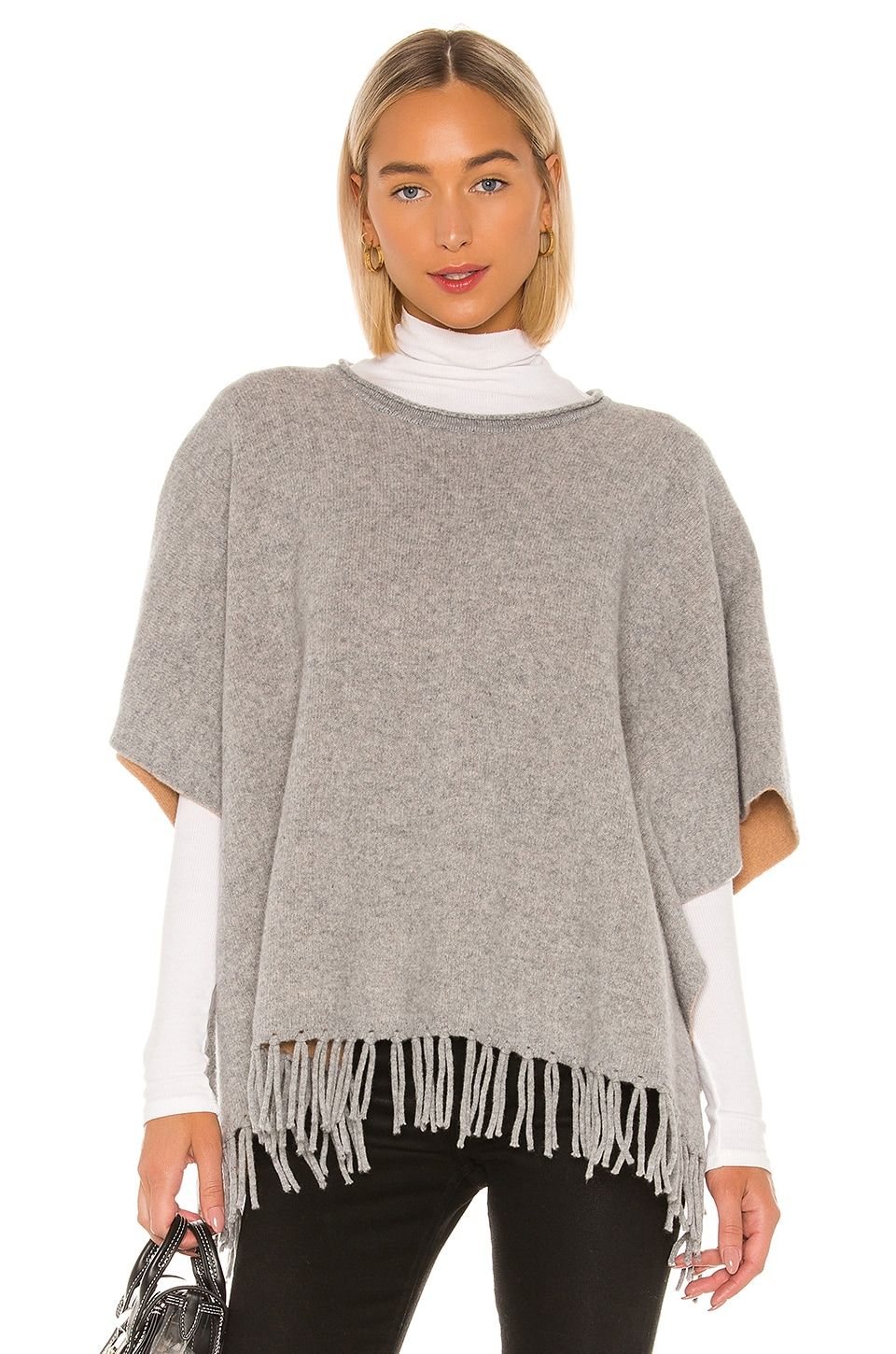 SWTR Double Sided Poncho in Elephant & Brown Sugar