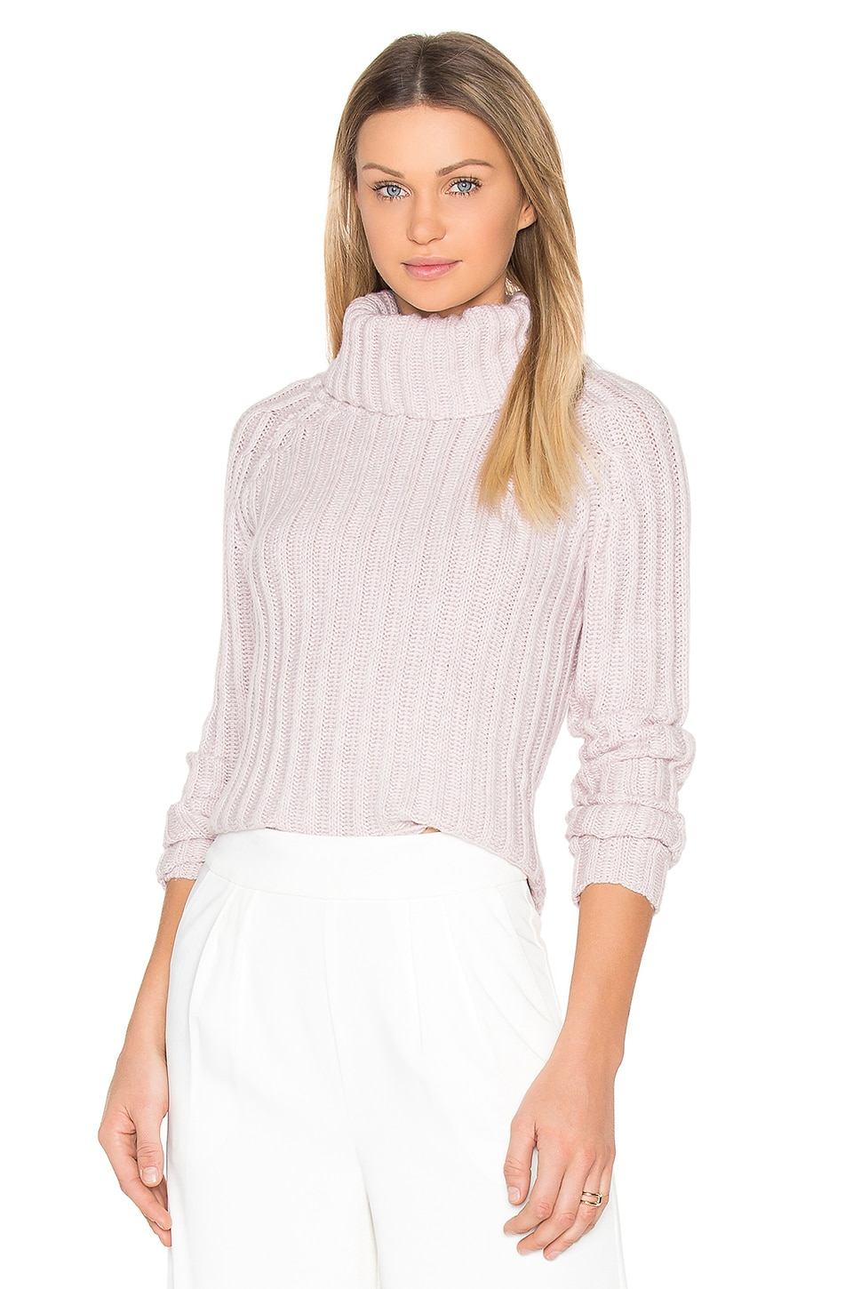 BROWN ALLAN Ribbed Turtleneck Sweater in Pink Twist