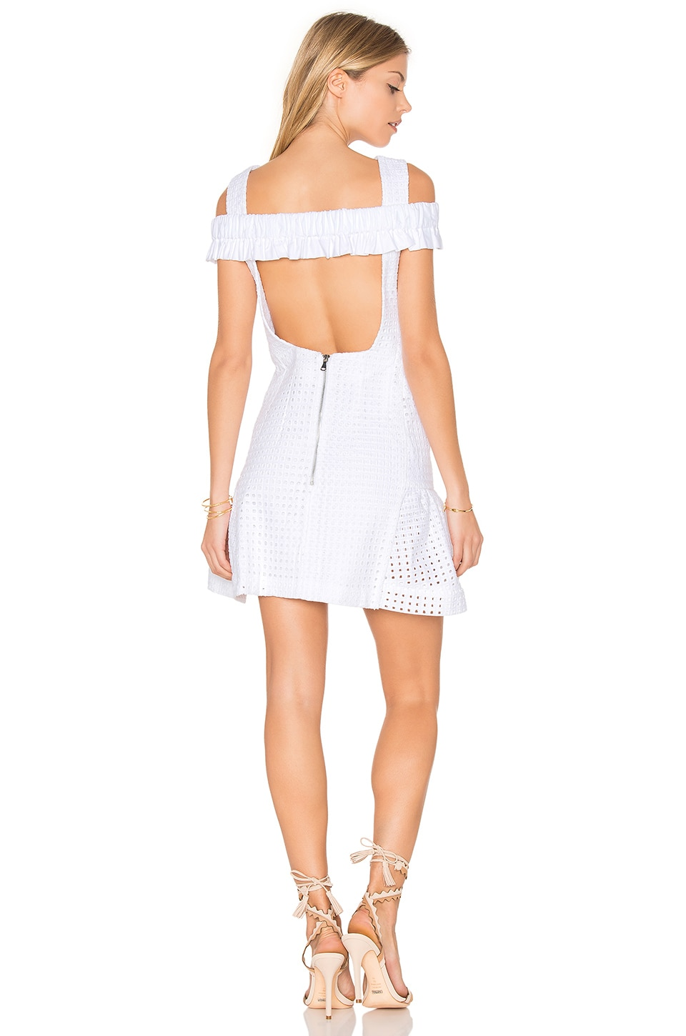 Marthe Lace Elastic Frill Mini Dress by By Johnny