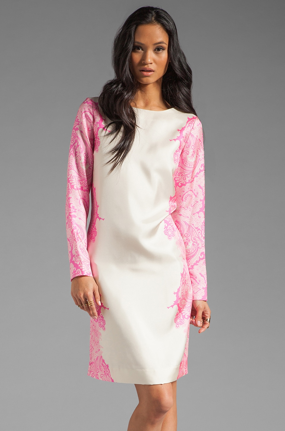 By Malene Birger Paisley Flame Silk Mini Dress in Neon Pink