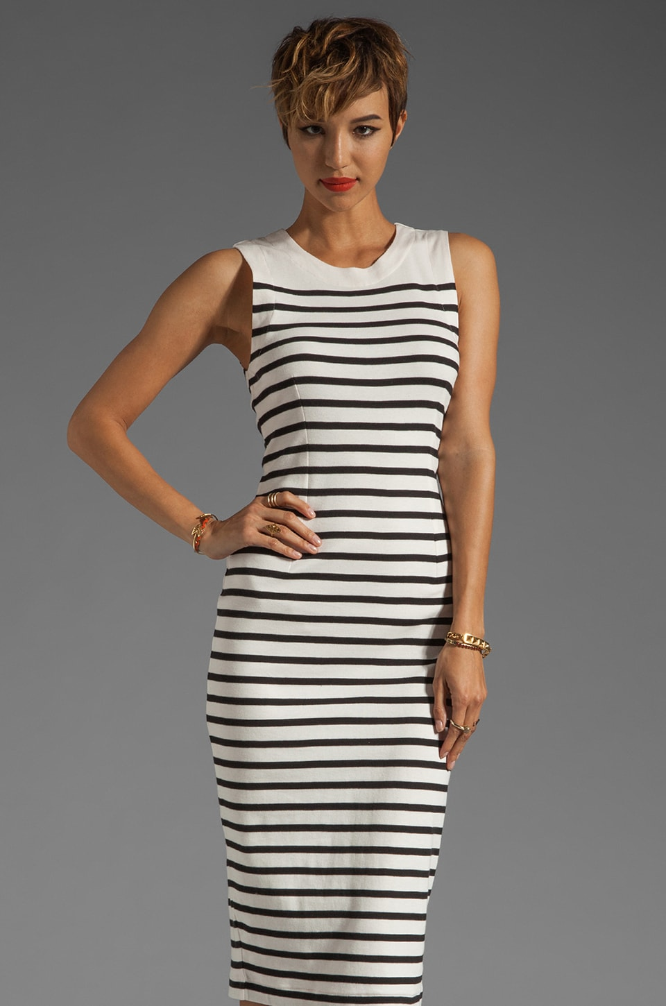 By Malene Birger French Sailor Higon Dress in Cream and Black