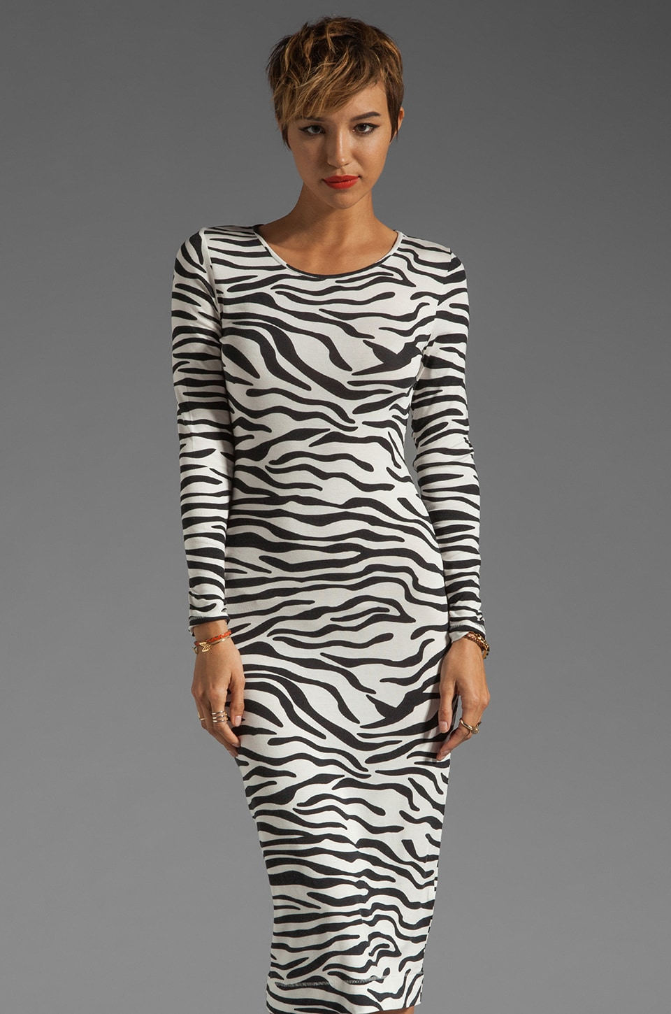 By Malene Birger Zebra Printed Jersey Husia Dress in Black and Cream
