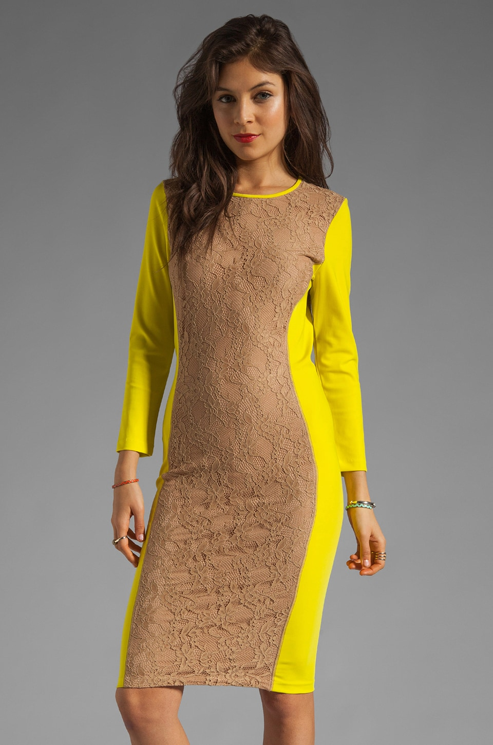 By Malene Birger Smooth Interlock Coralla Dress in Neon Yellow and Cafe Latte
