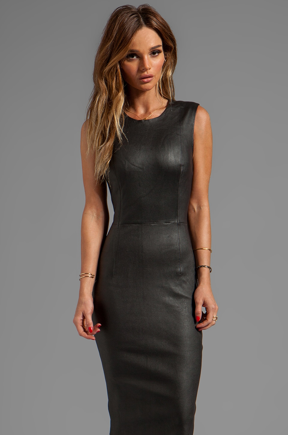 By Malene Birger Funky Nappy Maluba Leather Dress in Black