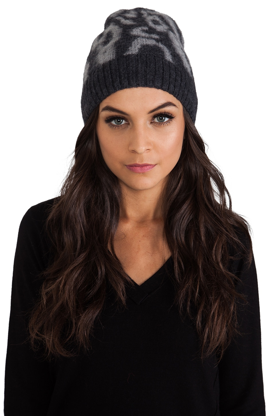 By Malene Birger Soft Jacquard Balou Beanie in Dark Grey Melange
