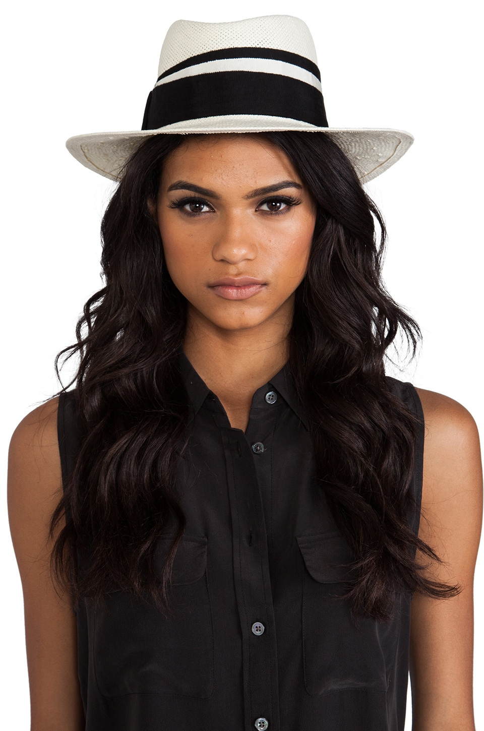 By Malene Birger Summer Straw Merlinas Hat in Cream & Black