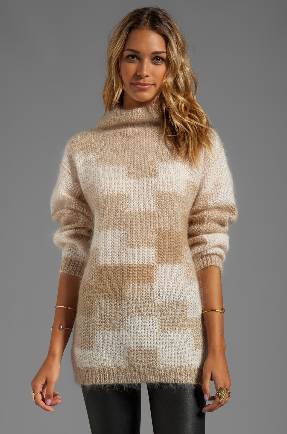By Malene Birger Fair and Square Sarea Sweater in Dark Sand/Cream
