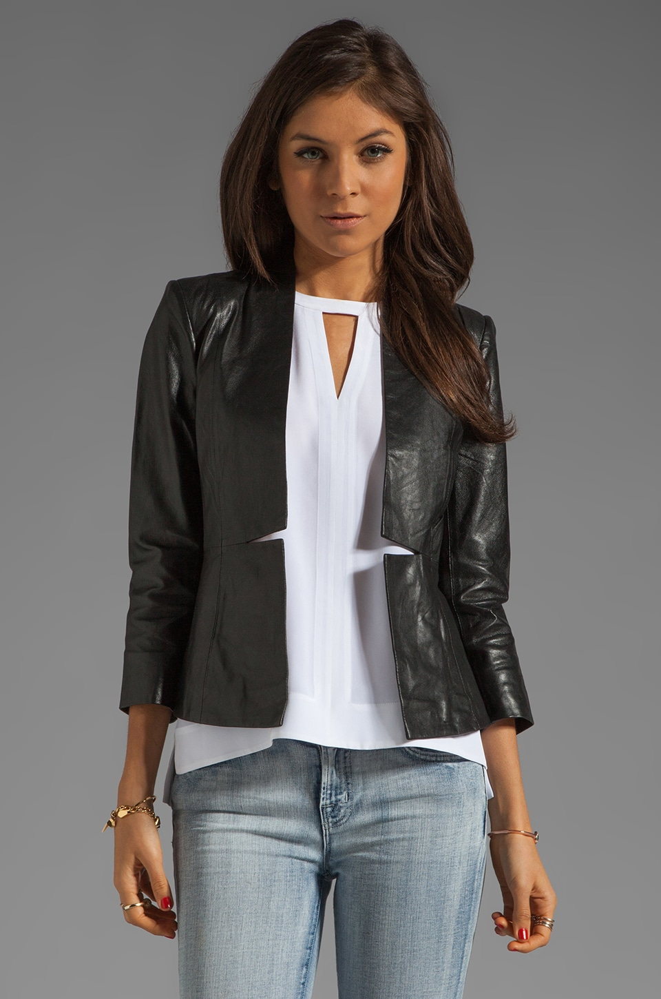 By Malene Birger Luxurious Leather Blazer in Black