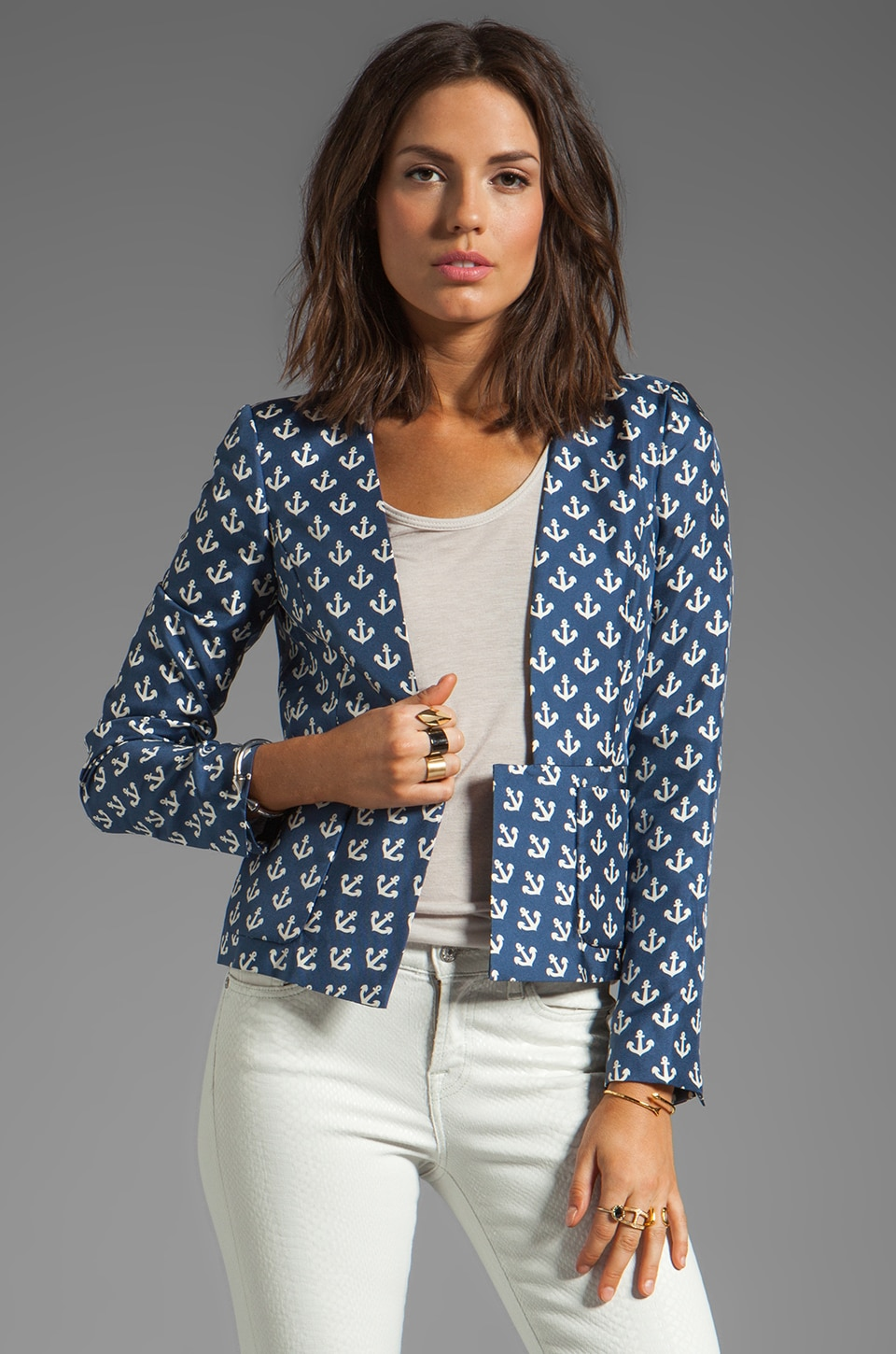 By Malene Birger Anchor Delight Ossalli Silk Print Blazer in Atlantic