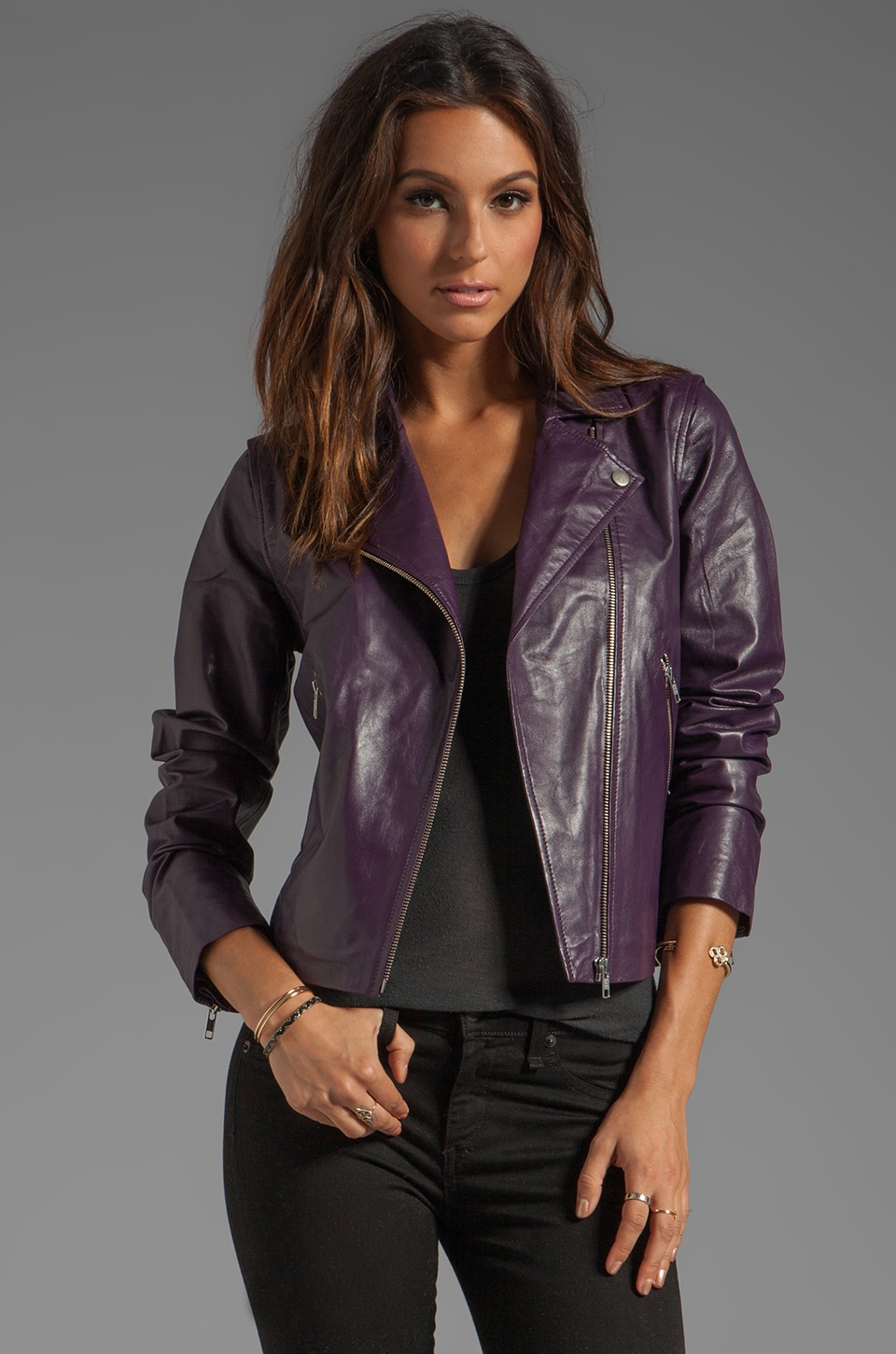 By Malene Birger Bright Leather Amadi Jacket in Italian Plum