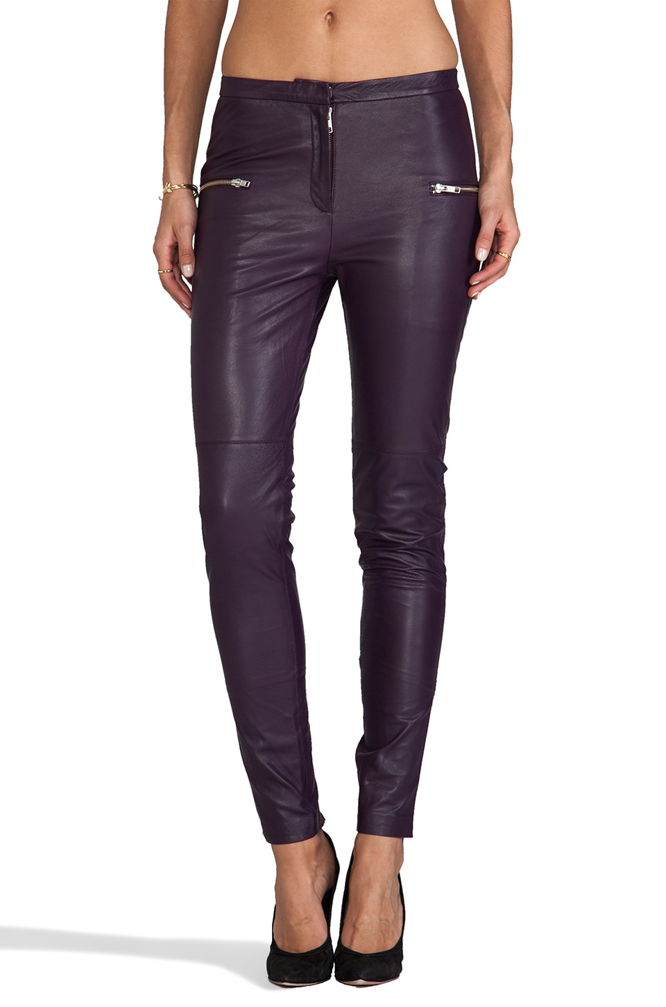 By Malene Birger Luxurious Leather Bongani Pant in Italian Plum