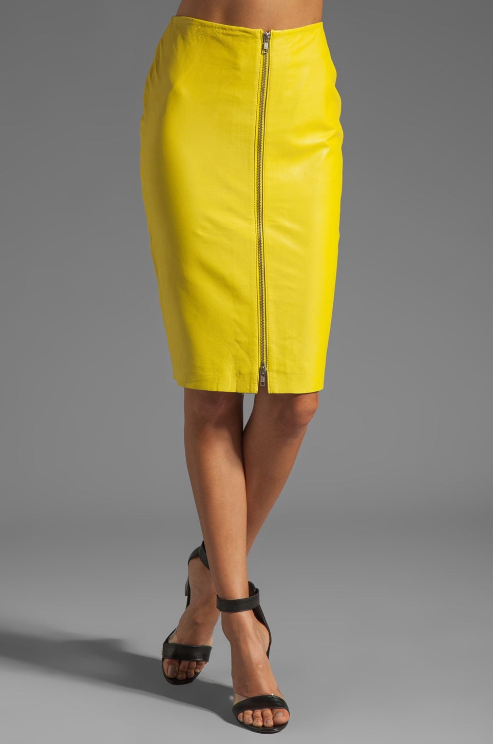 By Malene Birger Luxurious Leather Pencil Skirt in Neon Yellow