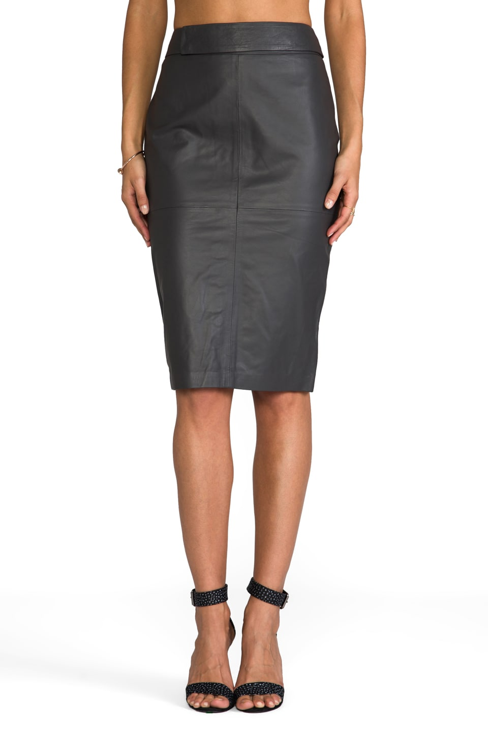 By Malene Birger Glamorous Leather Bisai Skirt in Dark Grey