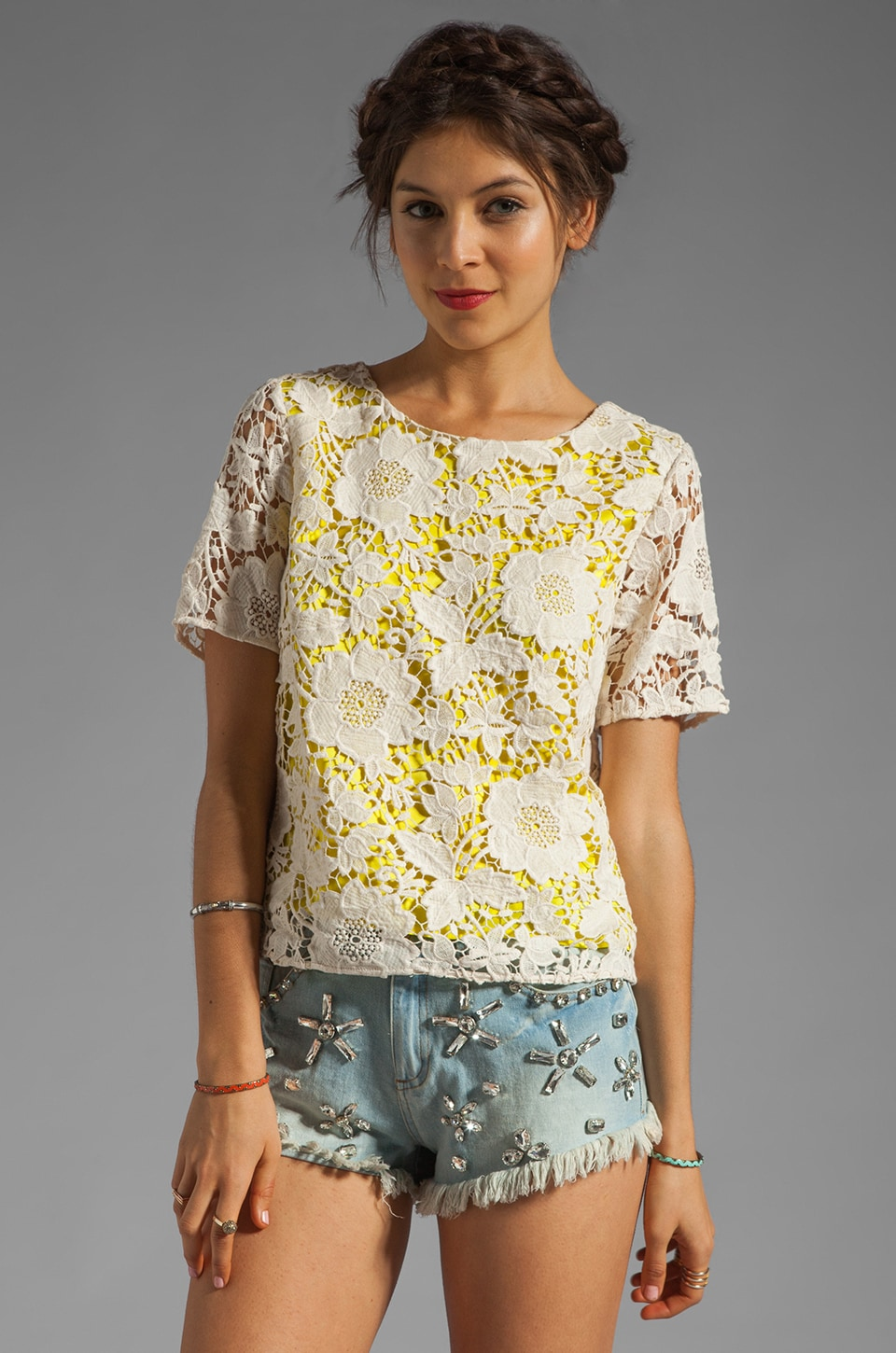 By Malene Birger Modish Life Voleria Top in Neon Yellow with Cream Lace