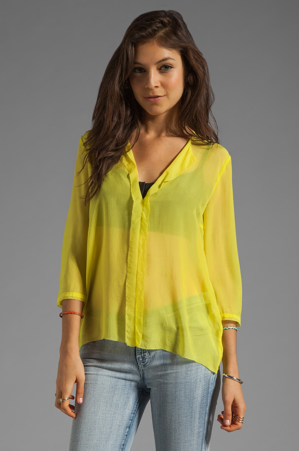By Malene Birger Airy Silk Linean Blouse in Neon Yellow