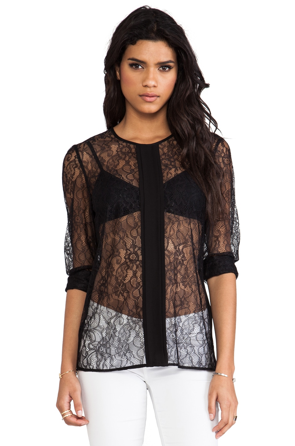By Malene Birger Lace Deluxe Frame Blouse in Black