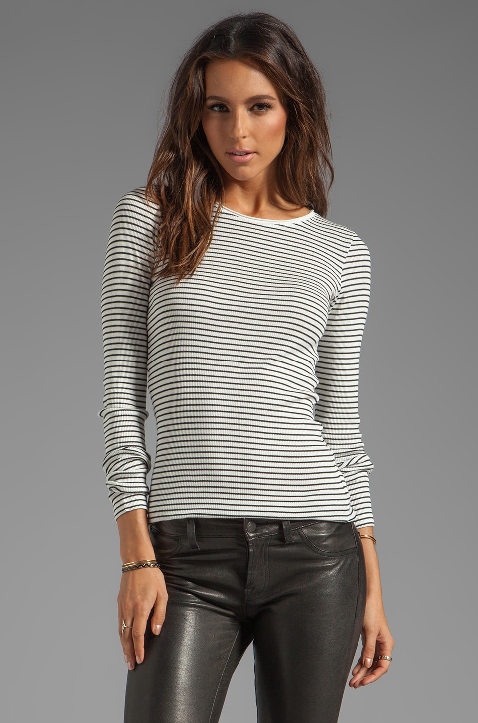 By Malene Birger Striped Sailor Rib Franca Top in Cream