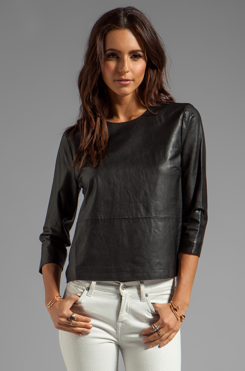 By Malene Birger Bright Leather Khamisi Top in Black